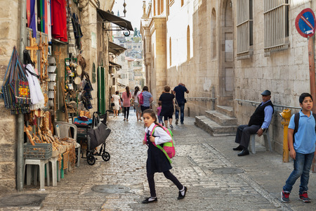 jewish houses: ISRAEL, JERUSALEM - OCTOBER 29: Jerusalem is a city located between the Mediterranean and the Dead Sea.One of the oldest cities in the world. On street of Jerusalem on 29 October 2016.
