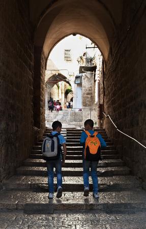 ISRAEL, JERUSALEM - 29 OCTOBRE: Jérusalem est une ville située entre la Méditerranée et la mer Morte.Une des plus anciennes villes du monde. Rue de Jérusalem le 29 octobre 2016.