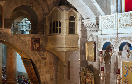 ISRAEL, JERUSALEM - OCTOBER 29: Jerusalem is a city located between the Mediterranean and the Dead Sea.One of the oldest cities in the world. Church of the Holy Sepulchre in Jerusalem on 29 October 2016.