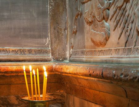 Holy tomb in church of the Holy Sepulchre in Jerusalem.