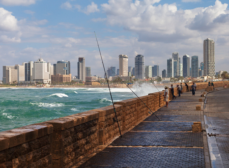 TEL AVIV, ISRAEL - NOVEMBER 2, 2016: Tel Aviv is a major city in Israel, located on the countrys Mediterranean coastline. View from a beach to the Tel Aviv on 2 November 2016.