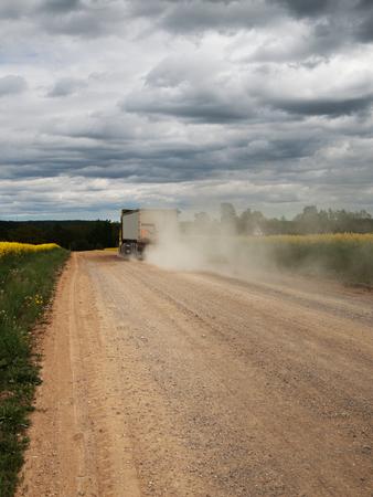 Dust road between rape fields.
