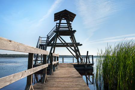 Marsh lake with wooden tower. Stock Photo