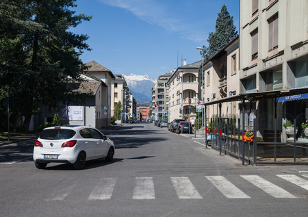 ITALY, AOSTA - JULY 8: Aosta is located region in the Italian Alps. View to the center of