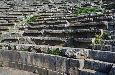 View to the stadium in ancient city Delphi.