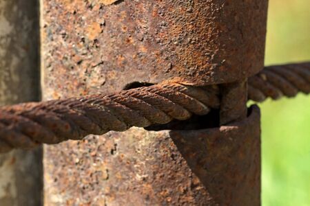 Detail of rusty construction with cableway. 写真素材