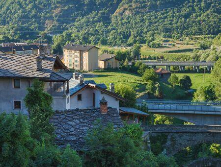 Chatillon bridges, Aosta valey, Italy. Stock Photo
