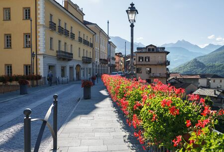 View to the street of old town in morning, Chatillon, Aosta valey, Italy.