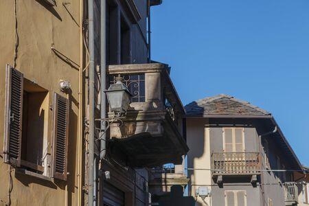 Old balcony in Chatillon, Aosta valey, Italy.