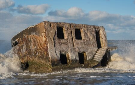 Ruins of northern forts on the beach of Baltic sea in Liepaja, Latvia.