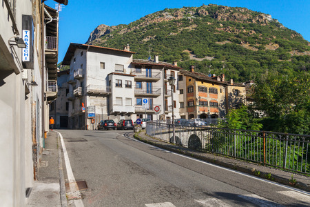 ITALY, CHATILLON - 7 JULY: Chatillon is an ancient town with unique, distinctive architecture. View to the street of old town in morning on 7 July 2018, Chatillon, Aosta valey, Italy. Editorial