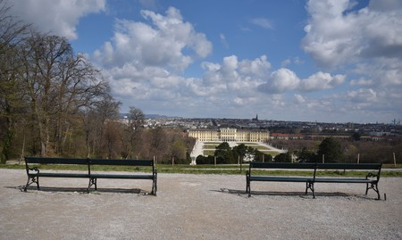 AUSTRIA, VIENNA - MARCH 26: Vienna is capital and largest city of Austria. Park of summer residence of the Habsburg rulers. View to Schönbrunn Palace on 26 March 2019, Hietzing, Austria.