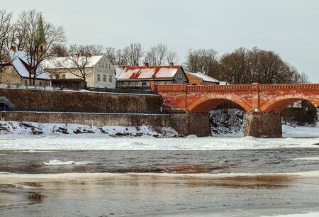 Flowing water, spring in Kuldiga, Latvia. Banco de Imagens