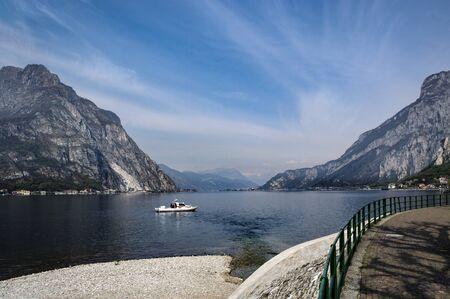 Promenade along coast of lake Como in Italy.