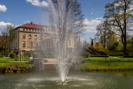 View to pond with fountain in Cesis.