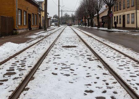 View to tram road in a winter. Reklamní fotografie