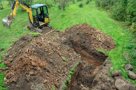 Fresh digged ditch on countryside.