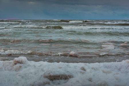 View to coast of Baltic sea in a winter season.