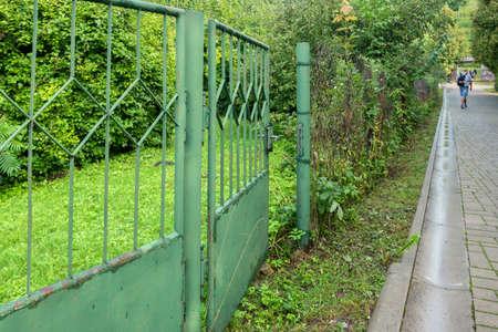 Metal gate to the garden.