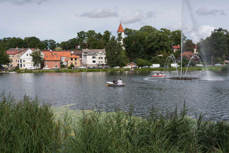 Landscape of city at the lake.