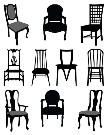 classic living room: Set of silhouettes chairs-vector