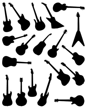 bass guitar: Silhouettes of guitar on white background, vector