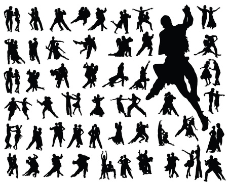 ballroom dance: Silhouettes of tango players, vector