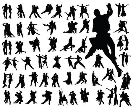 bailar salsa: Siluetas de jugadores de tango, vector Vectores