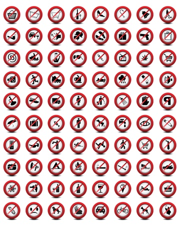 Big set of useful and unusual prohibited signs, vector Vector