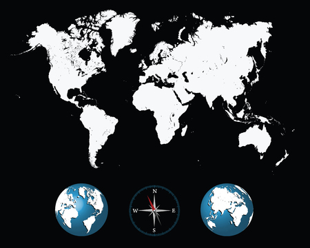 outline blue: Detailed white world map with compass and globe-vector illustration