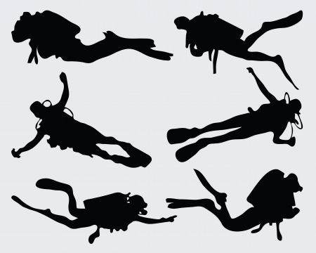 Set of diver silhouettes, vector Vettoriali