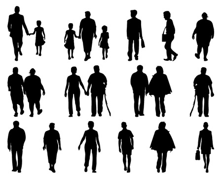 citizens: Silhouettes of people walking, vector