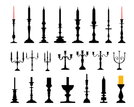 Silhouettes of candlesticks, vector illustration Vector