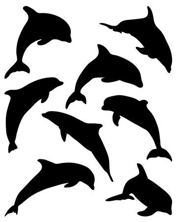 Black silhouettes of jumping dolphins, vector illustration Illustration