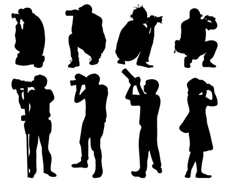 Black silhouettes of people with cameras, vector Illustration