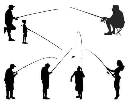 Black silhouettes of fishermen on a white background, vector Vettoriali
