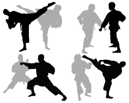 karate practice: Black silhouettes of karate fighting, vector illustration