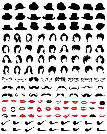 Silhouettes of mustaches, hats, glasses, hair, lips and pipe-vector illustration Illustration