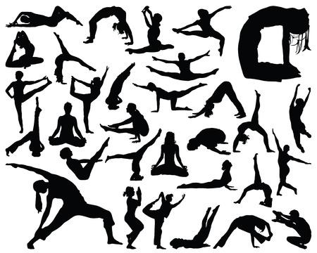 Big set of yoga silhouettes, vector illustration