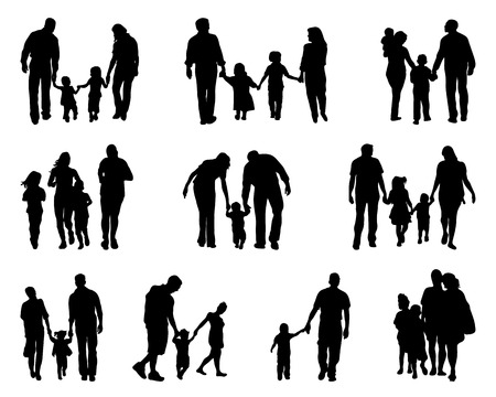 Black silhouettes of walking families , vector illustration