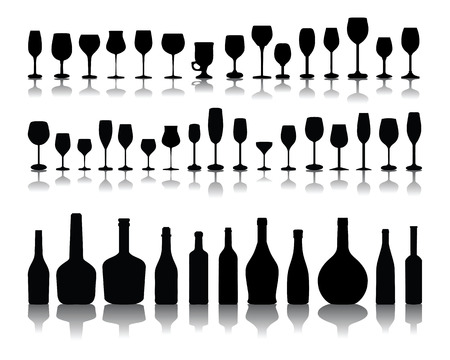 Silhouettes and shadow of  bottles and glasses, vector Vector