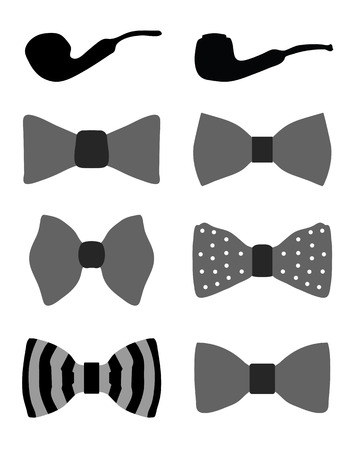 Collection of bow ties and pipes, vector illustration