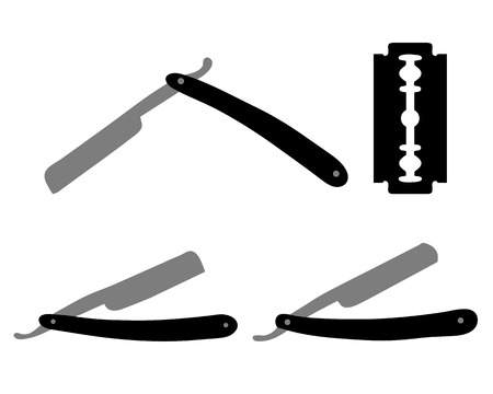 Silhouette� of razors and razor blade, ve  269;tor illustration