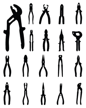 adjustable: Black silhouettes of pliers, vector illustration