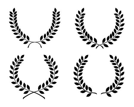Black silhouettes of laurel wreaths, vector illustration