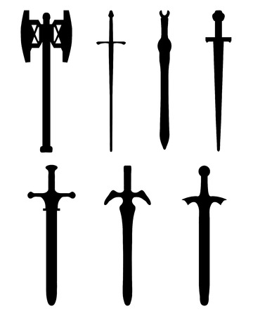 the crusades: Black silhouettes of different swords, vector illustration