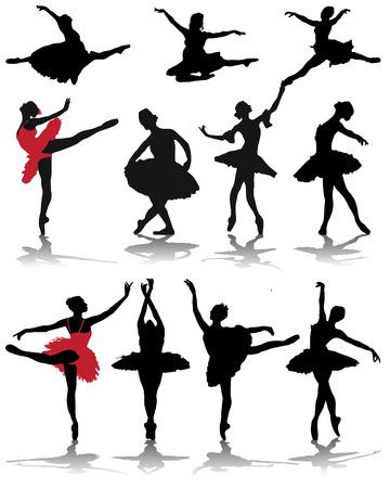 Silhouettes and shadows of ballerinas, vector