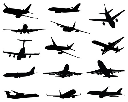 arrive: Collection of different airplane silhouettes, vector illustration