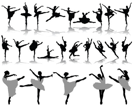 ballet slipper: Silhouettes and shadows of ballerinas, vector