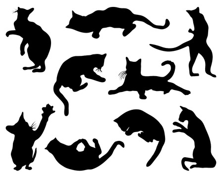 Cats silhouettes in different poses, vector Illustration